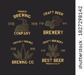 set of golden brewery labels... | Shutterstock .eps vector #1827298142
