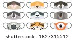 medical mask with animals faces.... | Shutterstock .eps vector #1827315512