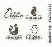 set of chicken logo vector... | Shutterstock .eps vector #1827316112