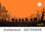 happy halloween. silhouette of... | Shutterstock .eps vector #1827345698