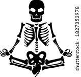skeleton meditates silhouette... | Shutterstock .eps vector #1827353978