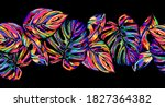 tropical unusual color leaves.... | Shutterstock .eps vector #1827364382