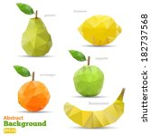 polygonal set fruit. abstract... | Shutterstock .eps vector #182737568
