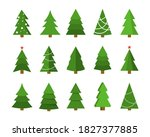 christmas tree flat icon set.... | Shutterstock . vector #1827377885