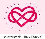 shining heart inside the sign...   Shutterstock .eps vector #1827453095