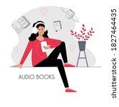 girl listening audio book in...
