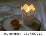 Candle Holder With Lit Candle ...