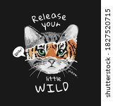 Typography Slogan With Cat And...