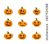 smiling pumpkins isolated on...   Shutterstock .eps vector #1827524288