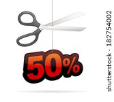 scissors cutting thread with 50 ... | Shutterstock .eps vector #182754002