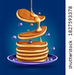 pancakes with blueberries on...   Shutterstock . vector #1827593378