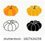 pumpkin isolated silhouette... | Shutterstock .eps vector #1827626258