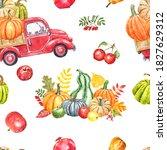 Watercolor Pumpkin Truck...