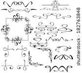 vector set of calligraphic... | Shutterstock .eps vector #182763848