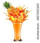exotic fruit juice splash.... | Shutterstock .eps vector #1827652265