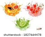sweet exotic juice splash.... | Shutterstock .eps vector #1827664478