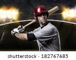 baseball player on a baseball... | Shutterstock . vector #182767685