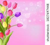 postcard of colorful tulips.on... | Shutterstock . vector #1827697448