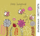 cute floral background with... | Shutterstock .eps vector #182771876