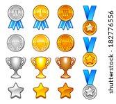 set of winter sport awards.