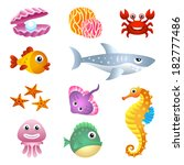sea creatures illustration set.
