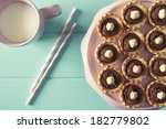 several tartlets with chocolate ... | Shutterstock . vector #182779802