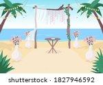 beach wedding flat color vector ... | Shutterstock .eps vector #1827946592