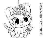 cute cartoon kitty unicorn...   Shutterstock .eps vector #1827974642