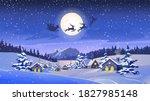 reindeers pulling santa claus ... | Shutterstock .eps vector #1827985148