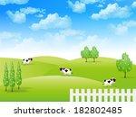 sky cow landscape | Shutterstock .eps vector #182802485