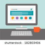 desktop of computer in flat... | Shutterstock .eps vector #182803406