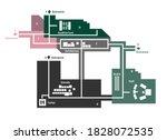 vector editable floor plan with ... | Shutterstock .eps vector #1828072535