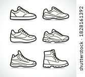 vector sports shoes icons set   Shutterstock .eps vector #1828161392