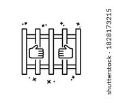 prison hands icon. simple line  ...