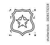 police badge icon. simple line  ...