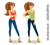 beautiful young girls in casual ... | Shutterstock .eps vector #182818946
