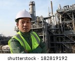oil gas engineer wearing safety ... | Shutterstock . vector #182819192