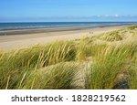 Atlantic ocean beach and Dune de Perroquet, in Bray Dunes, France