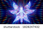 3D illustration six winged cherub a biblical mythical creature - stock photo