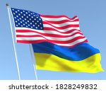 Two Waving State Flags Of...