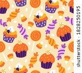 seamless pattern for halloween... | Shutterstock .eps vector #1828250195