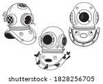 set of vintage diving helmets.... | Shutterstock .eps vector #1828256705