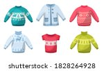 cute winter warm knitted... | Shutterstock .eps vector #1828264928