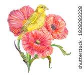 clever yellow bird in red... | Shutterstock . vector #1828283228