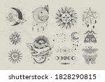 vector illustration set of moon ...   Shutterstock .eps vector #1828290815