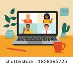 video conference of different... | Shutterstock .eps vector #1828365725