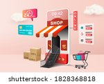 3d shopping online store for... | Shutterstock .eps vector #1828368818