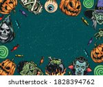 halloween vintage colorful... | Shutterstock .eps vector #1828394762