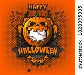 happy halloween. baseball ball... | Shutterstock .eps vector #1828395335