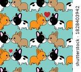 sweet cartoon puppy dog french... | Shutterstock .eps vector #1828403942